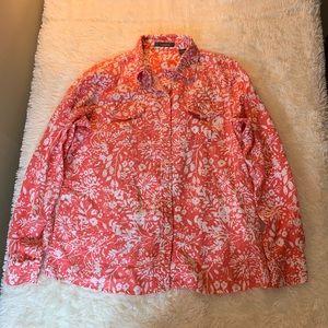 Liz Claiborne Floral Button Shirt Coral Size M